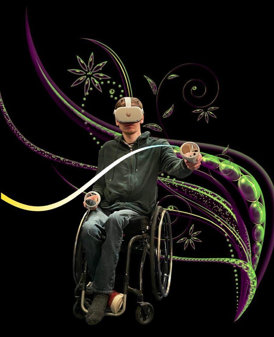 Gutt i hettegenser sitter i rullestol og bruker VR-briller og konsoller. i bakgrunnen ser man farger og former i lilla og grønt.