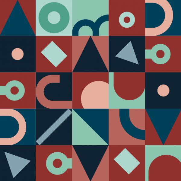 Grafiske former som har utgangspunkt i deler av logoen til Bergesenstiftelsen